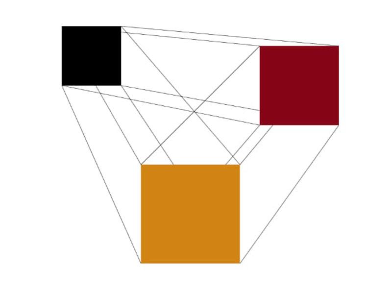 Imagen de tres cuadrados de distintos colores unidos entre sí