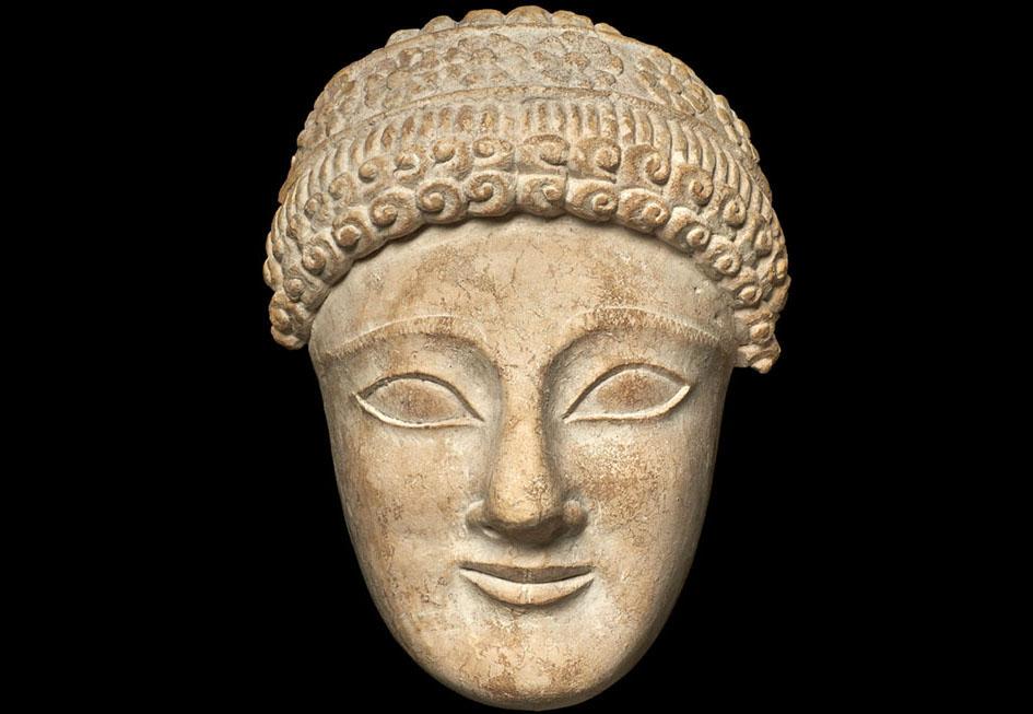 Imagen de una cabeza de piedra calcárea