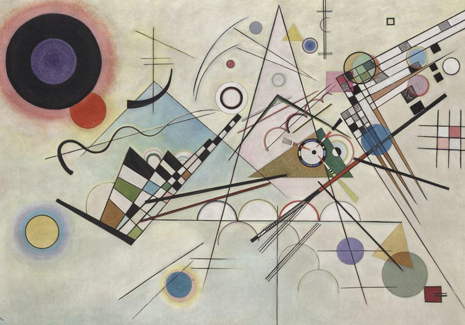 Cuadro de Kandinsky de diferentes formas geométricas