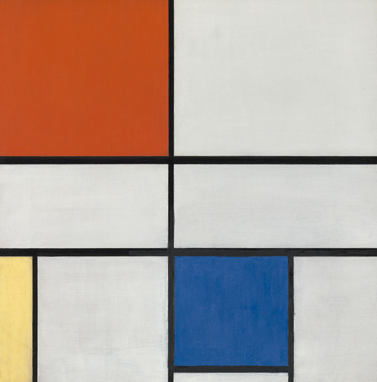 Cuadro geométrico con rayas negras y cuadros rojos, azules, amarillos y blancos