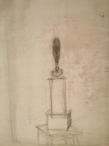 Busto de hombre sobre pedestal doble, colocado sobre taburete