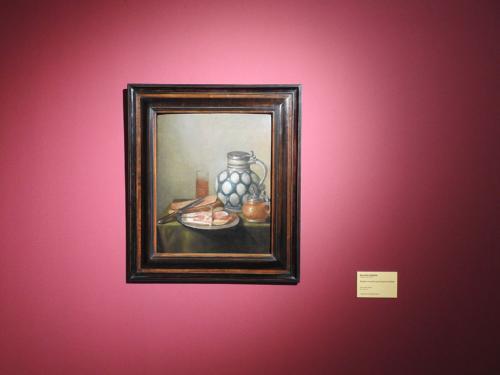 Bodegón con jamón y jarra de gres de Flandes
