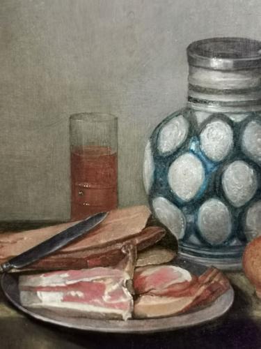 Bodegón con jamón y jarra de gres de Flandes (detalle)