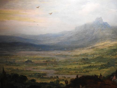 Paisaje de montaña con mulas (detalle)