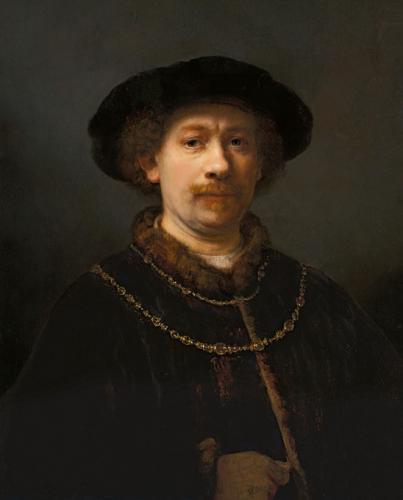 Autorretrato con gorra y dos cadenas