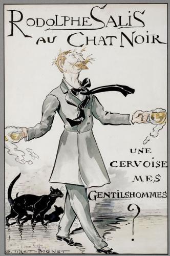 Caricatura de Rodolphe Salis en el Chat noir
