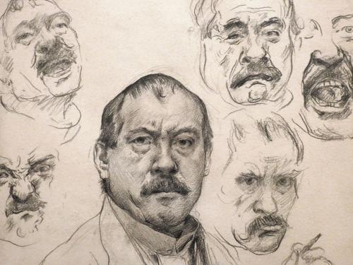 Autorretrato con siete estudios de expresiones faciales (detalle), 1910