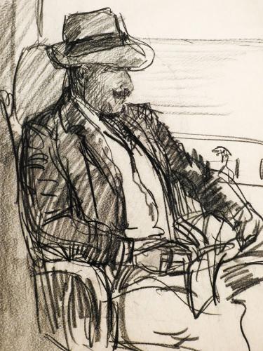 Autorretrato sentado en un sillón con sombrero de paja, 1910