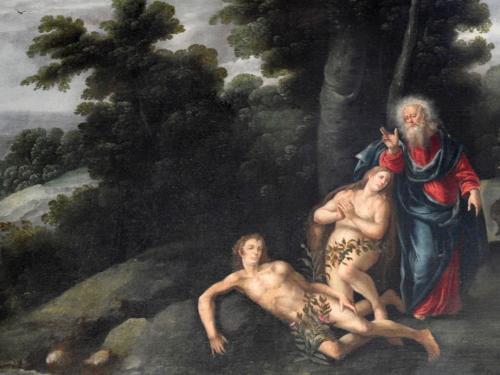Detalle de uno de los lienzos de la serie de la Creación en la sala del cabildo