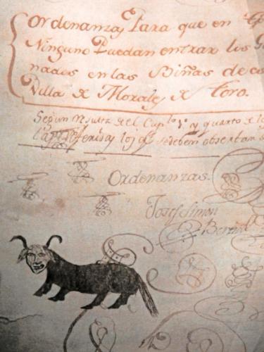 Ordenanzas para que en tiempo ninguno puedan entrar los ganados en las viñas de esta villa de Morales de Toro, 1735 (detalle)