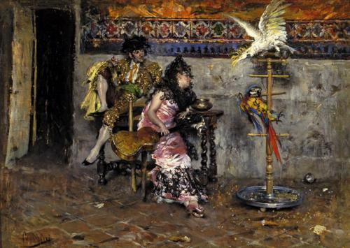 Pareja vestida a la española con papagayo, 1873