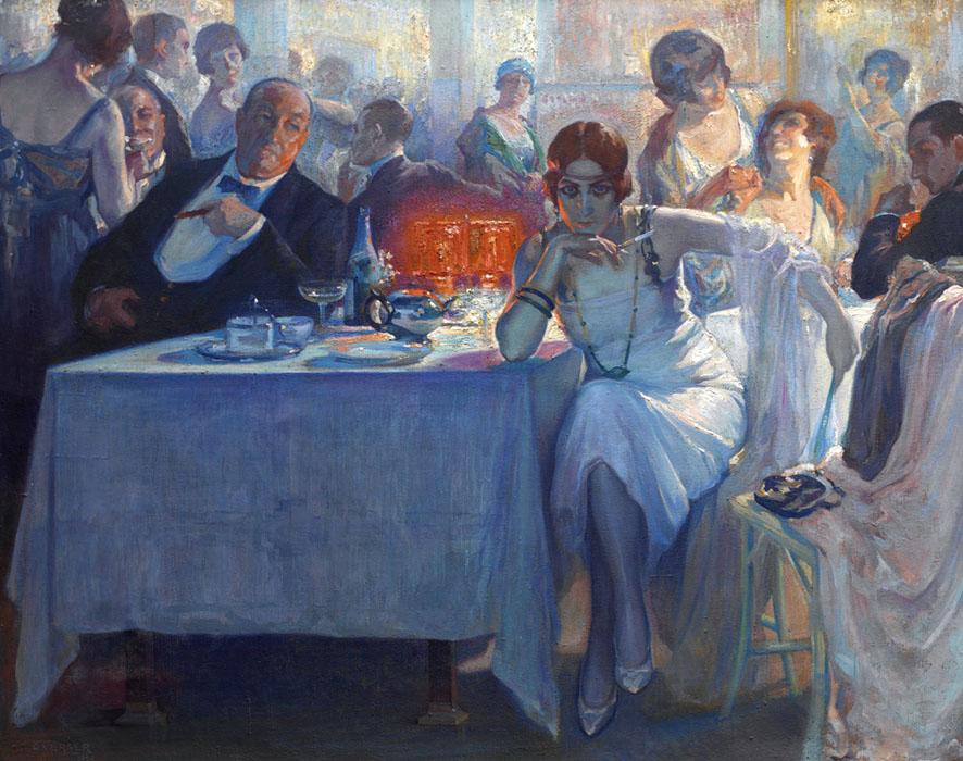 Cuadro de una fiesta en primer plano se ve a un señor cenando con una chica más jóven