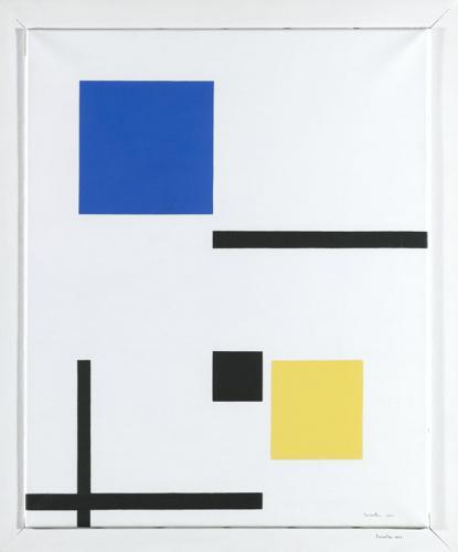 Composición en blanco, azul, amarillo y negro
