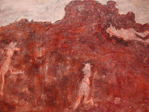 Detalle del lienzo Missions secrètes, 1953 (IVAM)